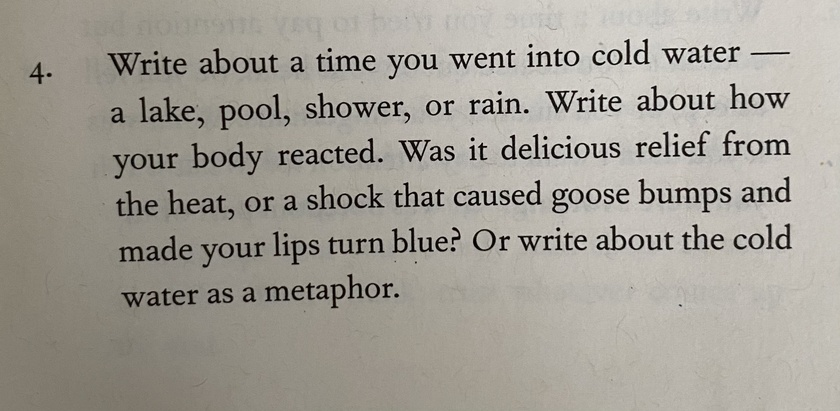 Writing Prompts - Day 4 - Cold Water